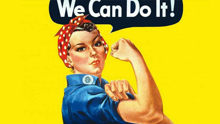 Rosie the Riveter wouldn't say 'just' or 'sorry' in her emails. ('We Can Do It!' by J. Howard Miller)