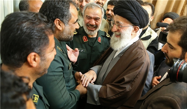 Iranian Supreme Leader Ali Khamenei meets the Iranian Revolutionary Guards Corps (IRGC) Navy unit that detained US sailors earlier in January, in a photo released by Iran on January 24, 2016.