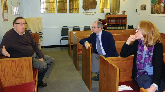 Arthur Liederman, Rabbi David Wise and congregational nurse Linda Liederman at the Hollis Hills Jewish Center. Michael Datikash