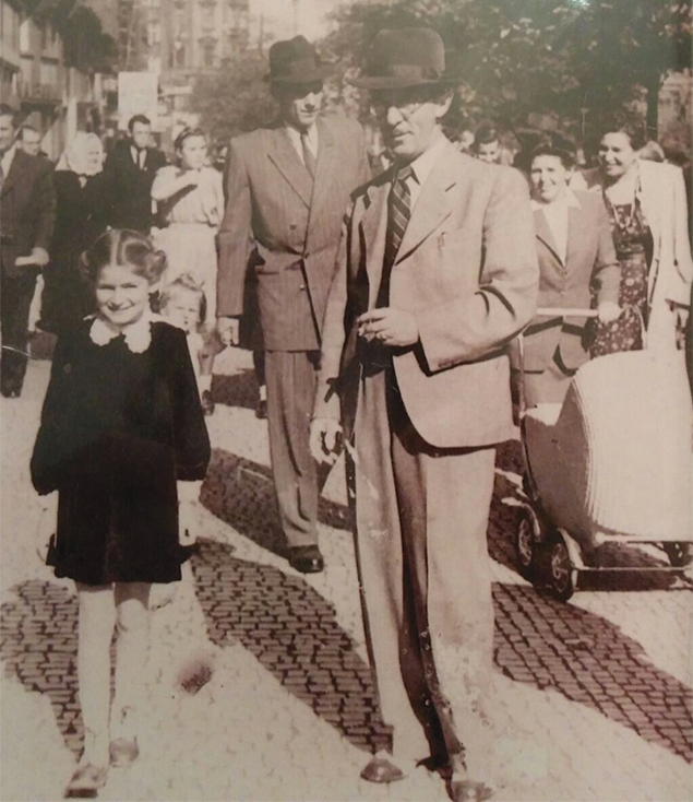 Vera and her father in Prague after the war.