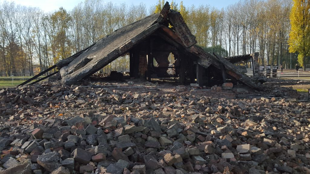 Ruins of a gas chamber-crematorium facility at Auschwitz-Birkenau, known as Krematorium II, photographed in November 2015. (Matt Lebovic/The Times of Israel)