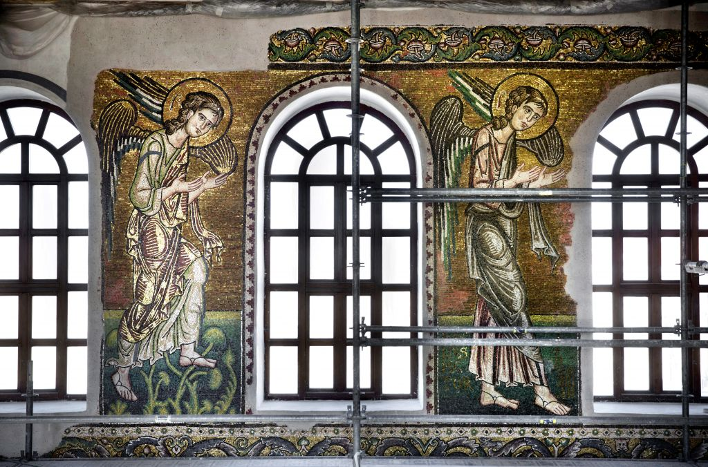 Renovated mosaics and windows are seen the Church of the Nativity, in the West Bank city of Bethlehem on February 4, 2016. (AP Photo/Nasser Nasser)