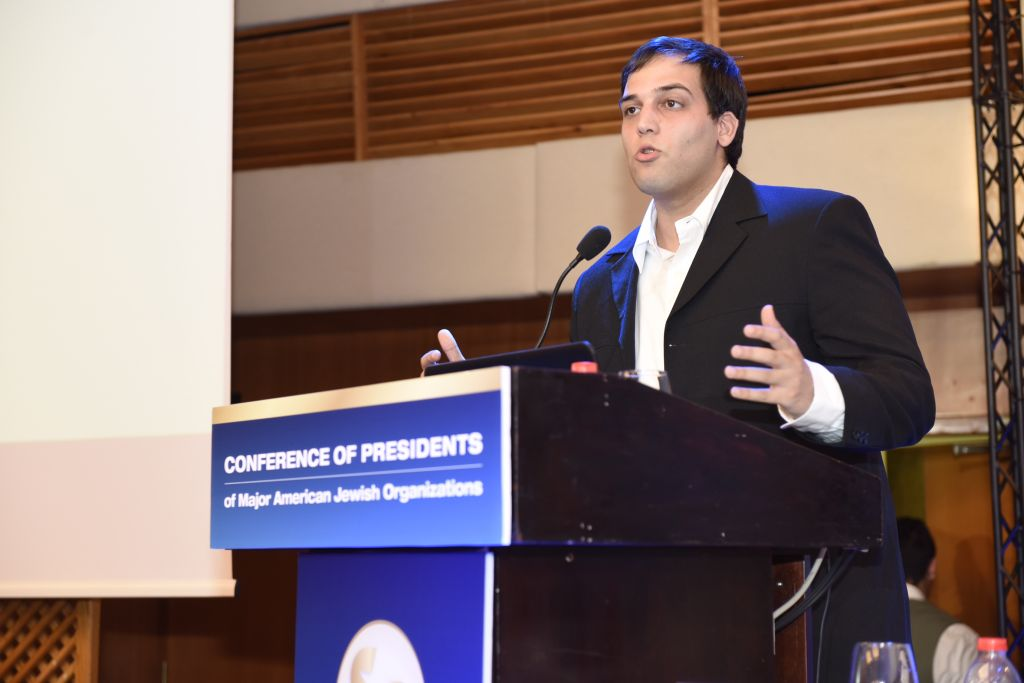 Ido Daniel, National Program Director, ISCA - Israeli Students Combating Anti-Semitism in the National Union of Israeli Students (NUIS) at the Conference of Presidents meet-up in Jerusalem, February 16, 2016 (Tamir Hayoun)