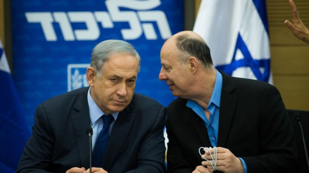 Prime Minister Benjamin Netanyahu, left, speaks with MK Tzachi Hanegbi during a Likud party meeting in the Knesset on February 8, 2016. (Yonatan Sindel/Flash90)