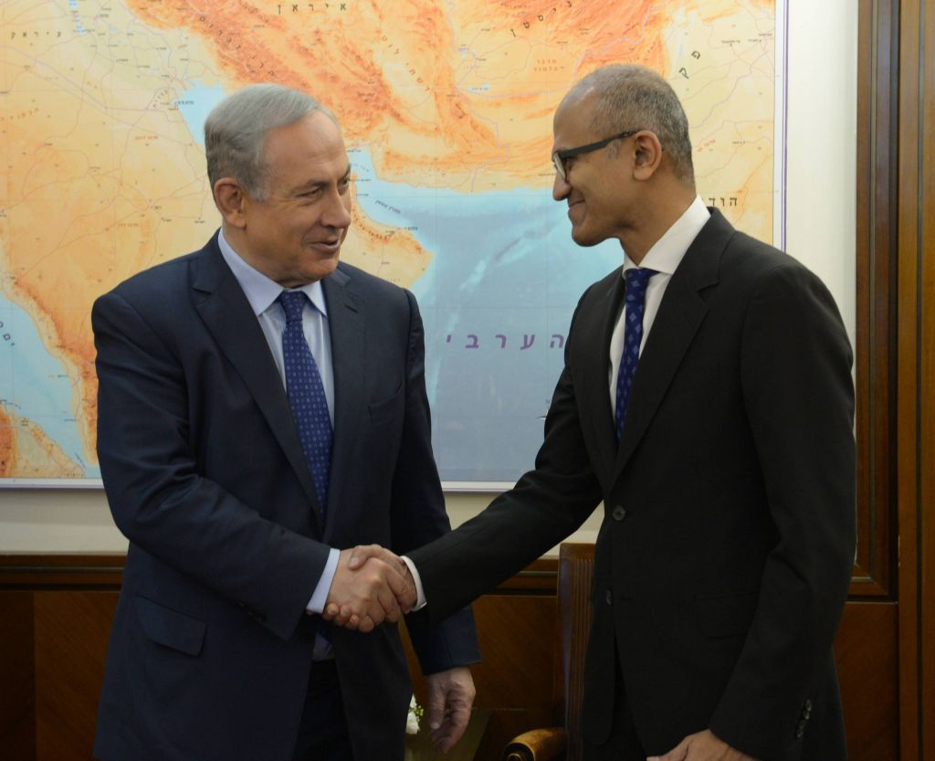 Prime minister Benjamin Netanyahu (L) meets with Microsoft CEO Satya Nadella, February 25, 2016. Photo by Amos Ben Gershom/GPO