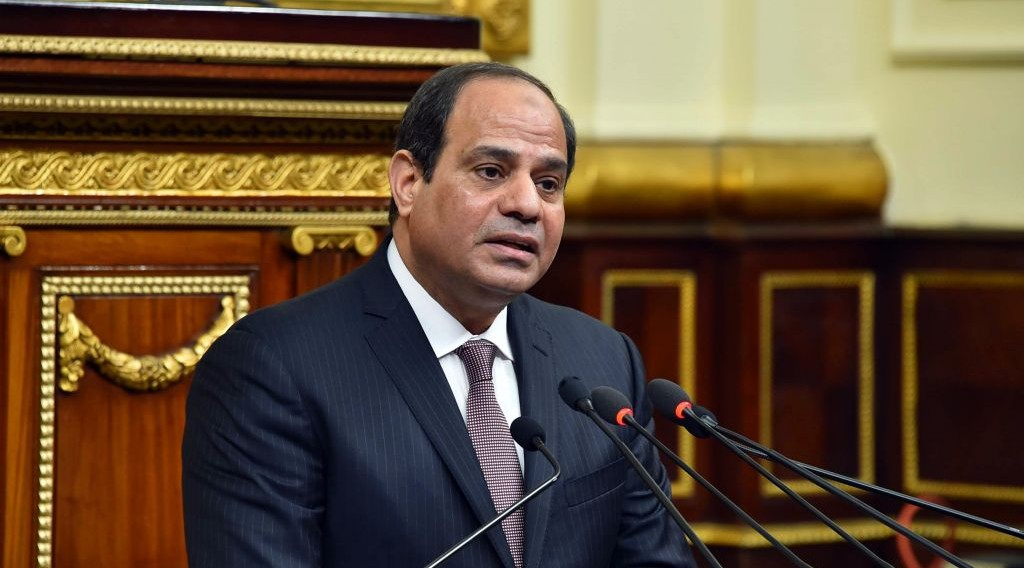 In this photo provided by Egypt's state news agency MENA, Egyptian President Abdel-Fattah el-Sissi, addresses parliament in Cairo, Egypt, Saturday, Feb. 13, 2016. (MENA via AP)