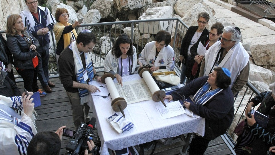 Reform female and male rabbis pray together at Robinson's Arch, the Western Wall site slated for future egalitarian services, on Thursday, February 25, 2016. (Y.R/Reform Movement)
