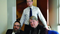 Sam Kellner with his attorneys, Michael Dowd and Niall MacGiollabhui