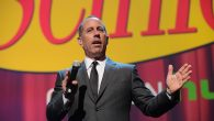Jerry Seinfeld speaking onstage at the 2015 Hulu Upfront Presentation at Hammerstein Ballroom in New York City, April 29. JTA