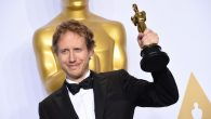 """Director László Nemes holds the Oscar awarded to """"Son of Saul"""" for Best Foreign Language Film. Getty Images"""