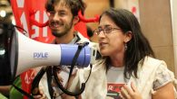 Rabbi Rachel Kahn-Troster at a march last spring on Peltz' Park Avenue offices. Courtesy of Coalition of Immokalee Workers