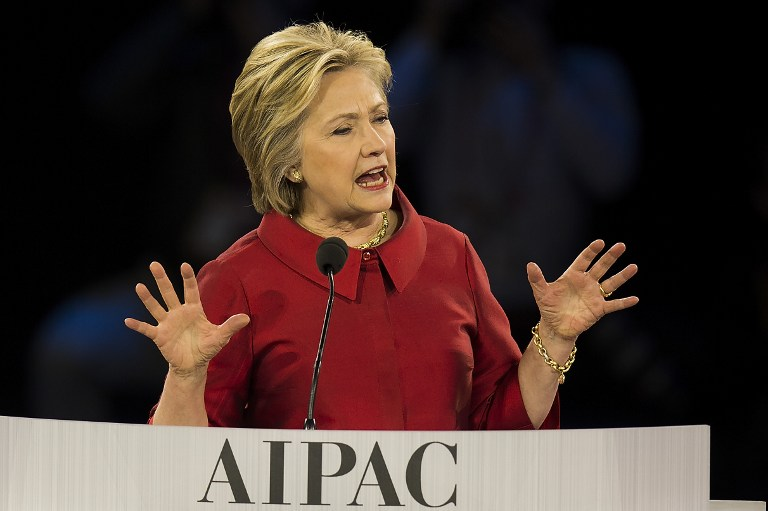 Democratic presidential candidate Hillary Clinton speaks during the 2016 AIPAC Policy Conference in Washington, DC, March 21, 2016. ( AFP / Jim Watson)