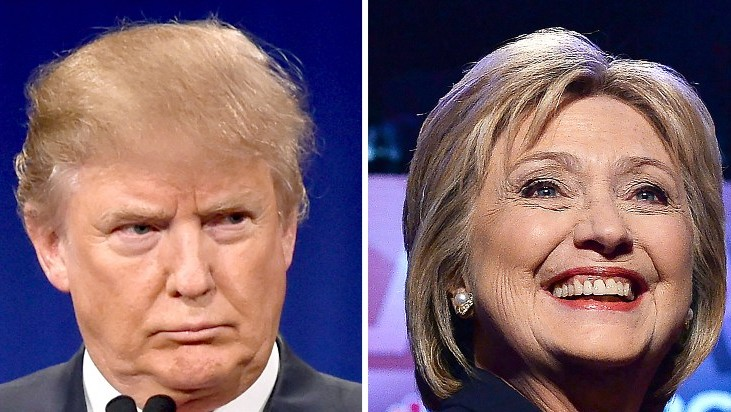 This file photo taken on March 2, 2016 shows a combination of file photos of Republican presidential hopeful Donald Trump on January 14, 2016 and his Democratic rival Hillary Clinton on February 4, 2016. (AFP / DSK)