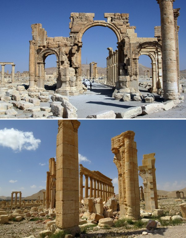 A combination of images shows a general view (top) taken on June 19, 2010 of the Arc de Troimphe (Triumph's Arc) prior to being destroyed by Islamic State (IS) group jihadists in October 2015 and the remains of the iconic structure after government troops recaptured the ancient city of Palmyra from IS fighters on March 27, 2016. / AFP / LOUAI BESHARA AND STRINGER