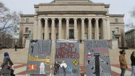 "Anti-Israel students at Columbia University erected a mock ""apartheid wall"" in front of the iconic Low Library steps."