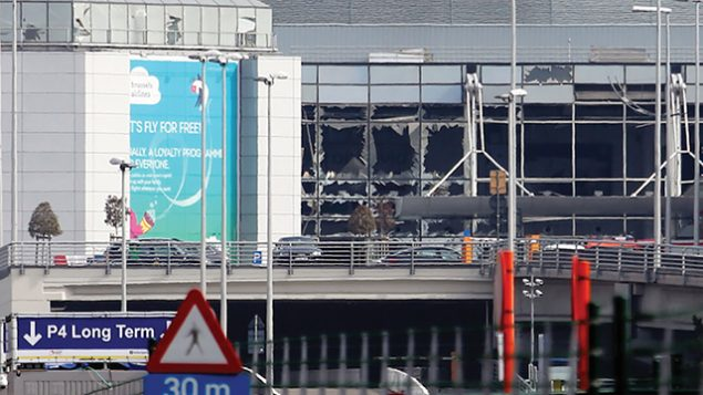 A view of bomb damage at Zaventem Airport in Brussels following Tuesday's terrorist attack in the Belgian capital.