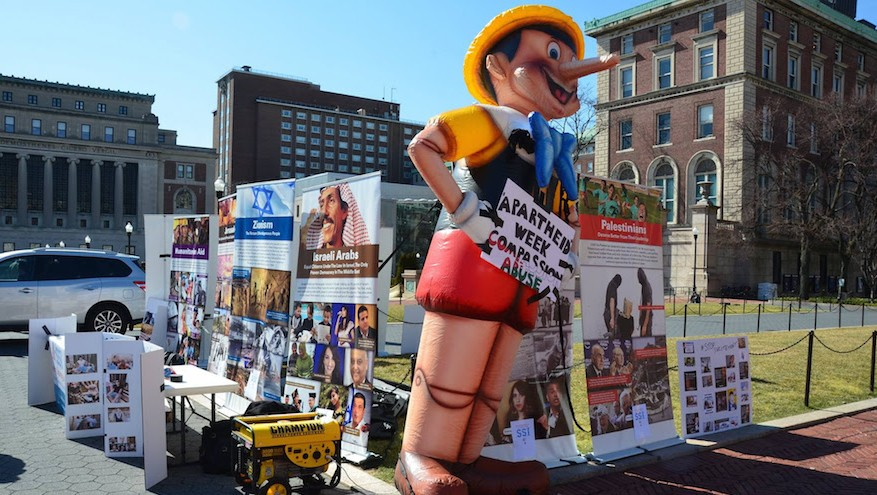 "During Israel Apartheid Week at Columbia University, pro-Israel students countered anti-Israel displays with a 12-foot-high Pinocchio doll meant to call attention to ""lies about Israel,"" March 1, 2016. (Courtesy Students Supporting Israel – Columbia)"