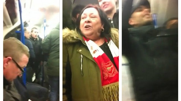 Arsenal fans in the train during the antisemitic song sing