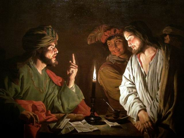 Christ Before Caiaphas, by Matthias Stom (1615-49).