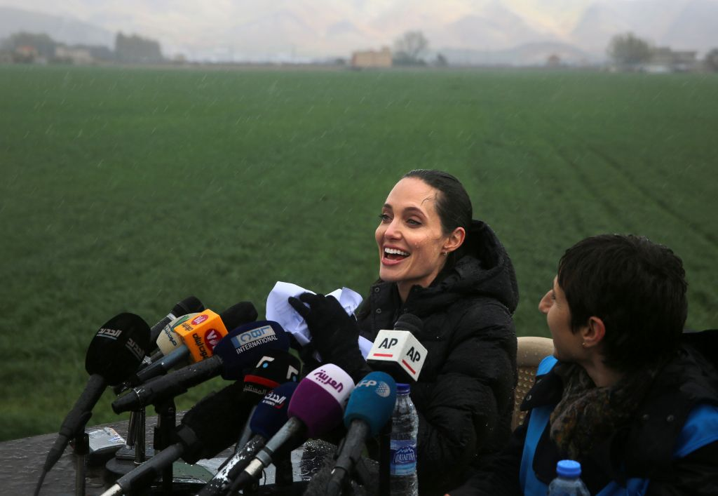US actress Angelina Jolie, Special Envoy of the United Nations High Commissioner for Refugees, speaks during a press conference at a Syrian refugee camp, in the eastern city of Zahleh, Lebanon, Tuesday, March 15, 2016. (AP Photo/Bilal Hussein)