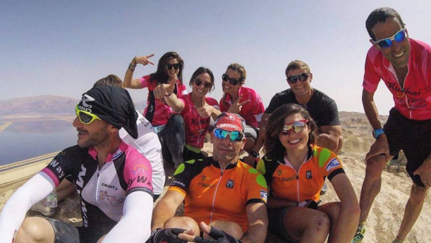 The VIBE fitness bloggers and their guides after a day of cycling, hiking and swimming in the area of the Dead Sea (Courtesy Rachele Brooke Smith)