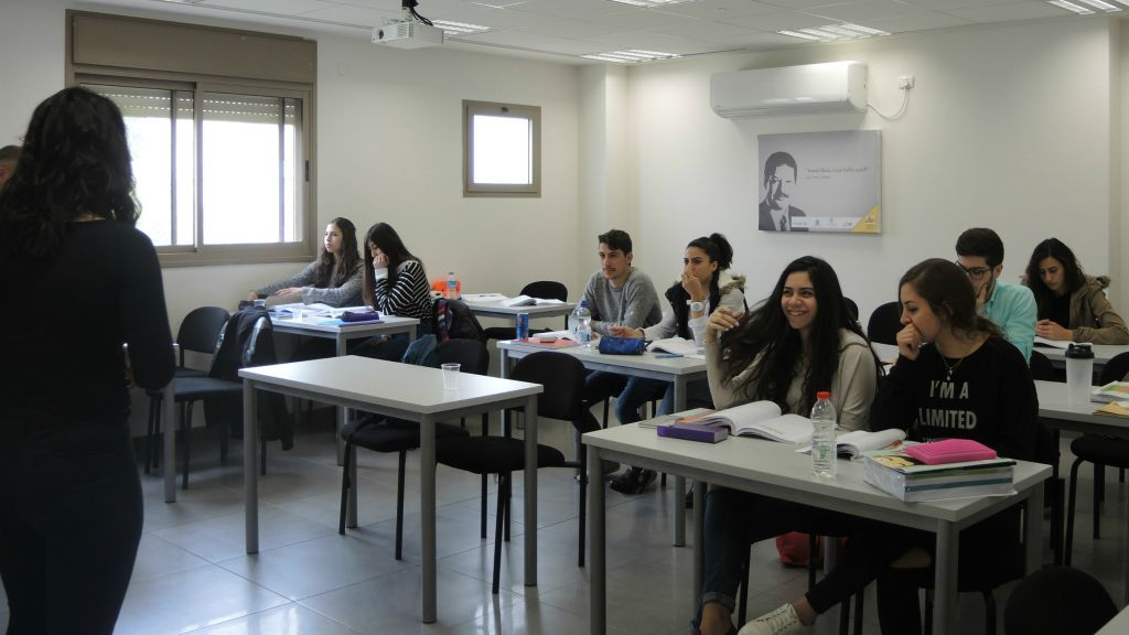 Lack of educational opportunities is a major obstacle for Arab employment, both male and female. Just 52% of Arab students in Nazareth graduate with matriculation certification. Rayan employment centers offer matriculation and psychometry classes, like this one on March 3, 2016, to help Arabs continue to higher education. (Melanie Lidman/Times of Israel)