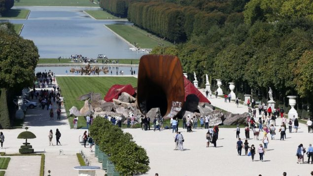 The sculpture by Anish Kapoor in the Versailles Gardens has been defaced a number of times with anti-Semitic slurs. Getty Images