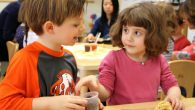 Chocolate chips were a popular choice at Columbus Preschool, where a class got a taste of Purim. Courtesy of Two Cats Media