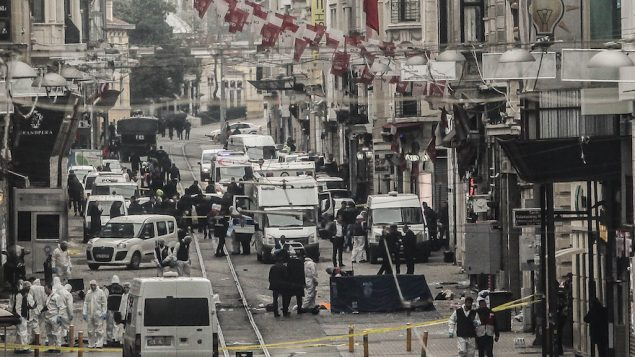 Emergency services inspecting the area following a suicide bombing in central Istanbul, Turkey, March 19, 2016. JTA