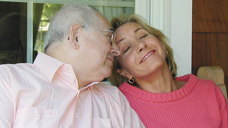 Cantor Kurt Silberman and his daughter, Judy Freilich, laughed together at Ms. Freilish's Englewood home a few years ago.