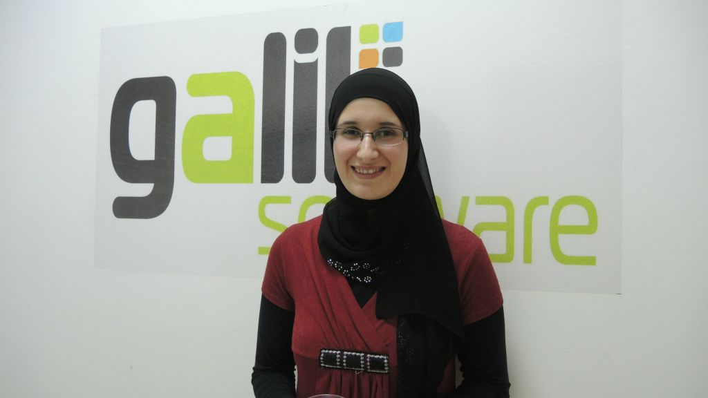 Ahlam Mousa, 28, seen here in Nazareth on March 3, 2016, has worked at Galil Software in customer solutions for the past five years. The lack of public transportation means she is often out of the house for 13 hours a day, and depends on her family and husband to take care of her two children. (Melanie Lidman/Times of Israel)