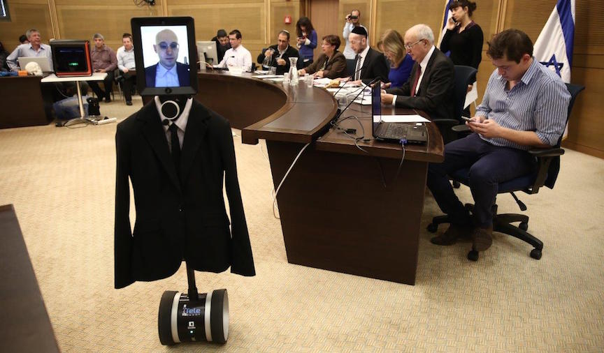 "A robot ""visitor"" appears at a session of the Knesset Science and Technology Committee, February 2, 2016 (Knesset Spokesperson)"