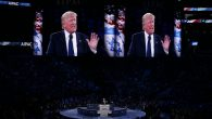 Republican presidential candidate Donald Trump addresses the AIPAC conference in Washington, DC today. Getty Images