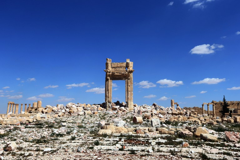 """A March 31, 2016 picture shows the remains of the Temple of Bel's """"Cella"""" in the ancient Syrian city of Palmyra, which was blown up by Islamic State jihadists. (AFP/Joseph Eid)"""