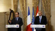 French President Francois Hollande speaks during a joint press conference with Lebanese Parliament Speaker Nabih Berri, right, after their meeting in Beirut, April 16, 2016. (AFP/ANWAR AMRO)