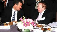 Sen. Ted Cruz, left, and casino operator and major GOP donor Sheldon Adelson at last year's ZOA dinner. JTA