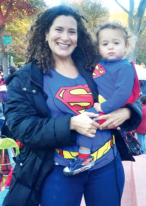 Lizzie Skurnick and her son, Javier, in Jersey City last Halloween.