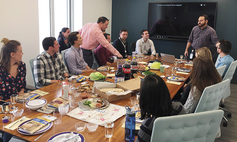 A few weeks ago, Elie Rosenfeld, in red and white shirt, went to Chicago to lead a model seder for Kraft Foods employees.