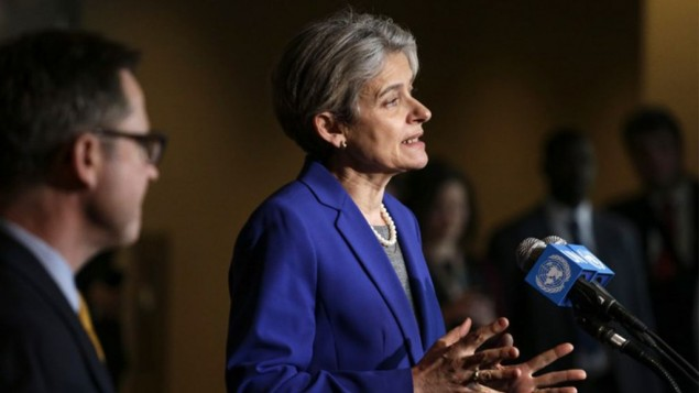 Irina Bokova speaks with reporters on the selection of the next UN Secretary-General at the UN headquarters in New York on April 12,2016. (Kena Betancur/AFP)