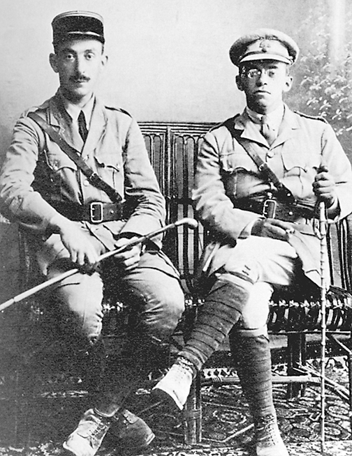 Vladimir (Ze'ev) Jabotinsky, left, posed with a Jewish officer in the French army in 1918