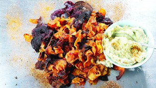 Root vegetable crisps with caramelised onion