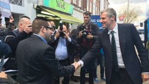 Zac Goldsmith meets with a councillor in Golders Green during his visit to the hub of Jewish London.