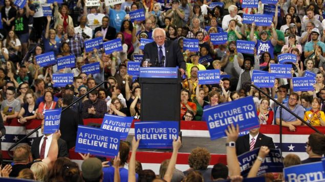Bernie Sanders at a rally in West Virginia after losing all but one primary to Clinton on April 28. John Sommers II/Getty Images