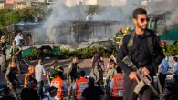 Firefighters and rescue personnel responding to a bus explosion in jerusalem, April 18, 2016. JTA