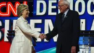 Hillary Clinton and Bernie Sanders greet each other at the CNN Debate in Brooklyn on April 14. (Jewel Samad/AFP/Getty)