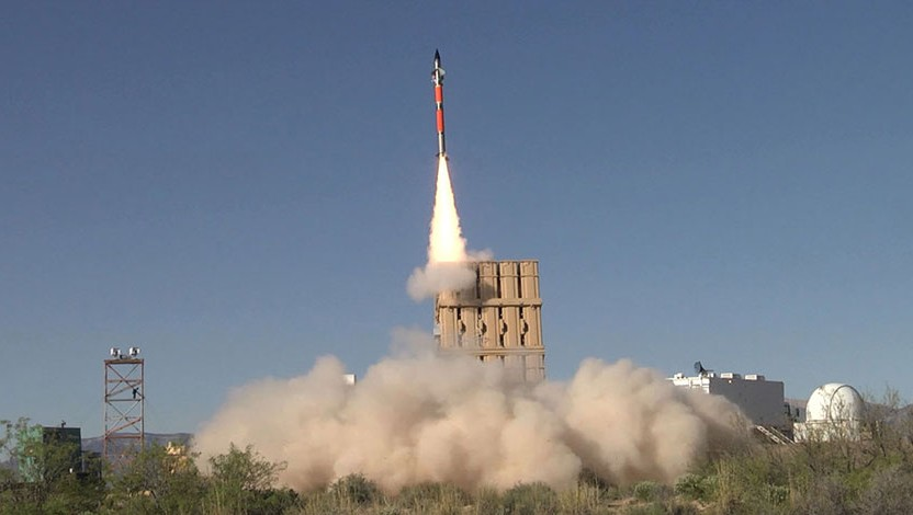 A Tamir missile fired from an Iron Dome missile defense battery during a trial in the United States in April, 2016. (Rafael Advanced Defense Systems)