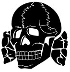 The symbol of the 'Totenkopf' fighting unit in the Waffen SS (courtesy of ADL)
