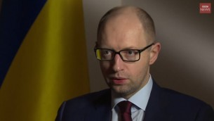 Arseniy Yatsenyuk, ancien Premier ministre ukrainien. (Crédit : capture d'écran YouTube/BBC News)