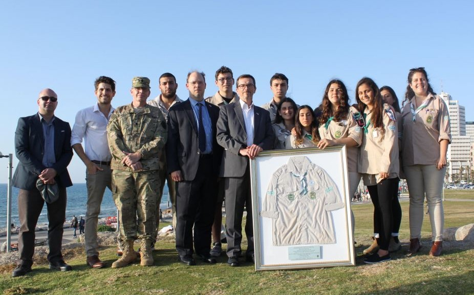Israel Scouts and members of the US mission to Israel honor Taylor Force in a ceremony in Jaffa on April 7, 2016 (The Israel Project)