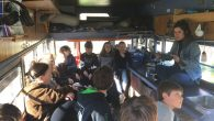 Community Synagogue of Rye fifth graders in Hazon's mobile classroom inside the vegetable oil-powered Topsy-Turvy bus.